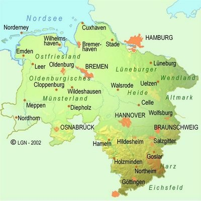 General map of Lower Saxony